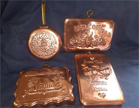 Bid Buy Get Online Full Service Diy Estate Auction Sales Vintage Collection 4pcs Benjamin And Medwin Inc Copper Brass Wall Decor
